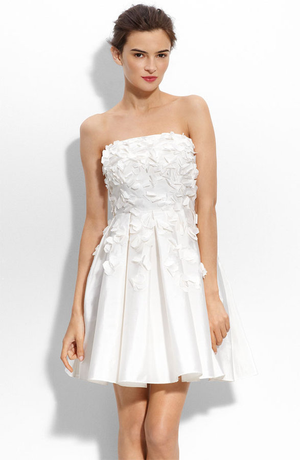 Calvin Klein Petal Appliqué Strapless Taffeta Dress