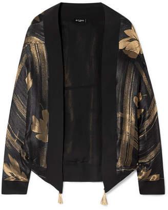 Etro Metallic Silk-trimmed Satin-jacquard Kimono - Black