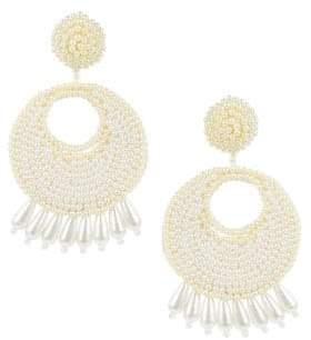 Kenneth Jay Lane White Faux Pearl Chandelier Earrings