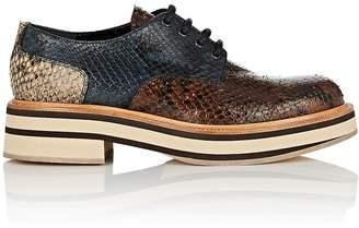 Dries Van Noten Women's Snakeskin-Stamped Leather Platform Oxfords