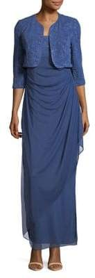 Alex Evenings Two-Piece Long Side Wrap Dress and Bolero Jacket