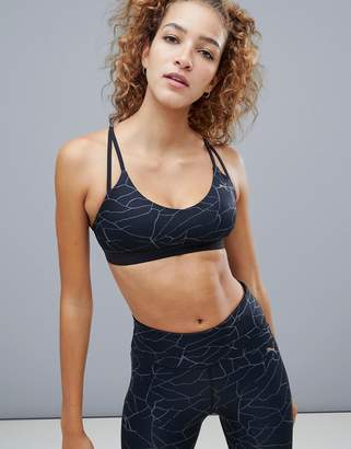 Puma Strappy Bra In Metallic Print