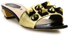 Fendi Studded Metallic Leather Mules