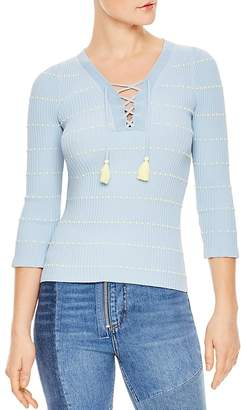 Sandro Gemilia Tasseled Lace-Up Sweater