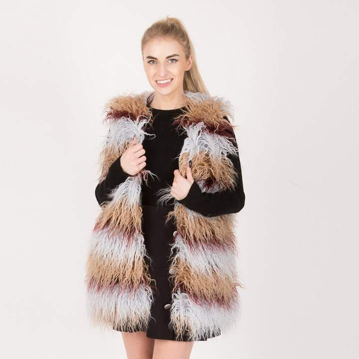 Urban Mist - Multicoloured Shaggy Faux Fur Gilet