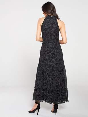 Wallis Spot Tiered Halter Maxi Dress - Monochrome