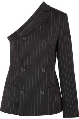 Moschino One-shoulder Pinstriped Wool-blend Top - Black
