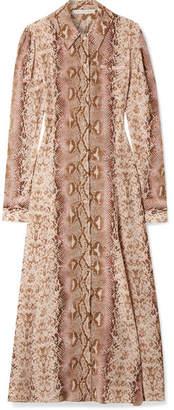Emilia Wickstead Lucinda Snake-print Silk Crepe De Chine Maxi Dress - Beige