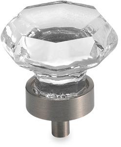 "Amerock Satin Nickel 1 1/4"" Clear Glass Cabinet Drawer Knob"