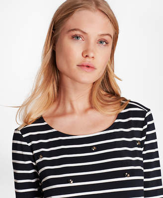 Brooks Brothers Crystal-Embellished Striped Three-Quarter-Sleeve T-Shirt