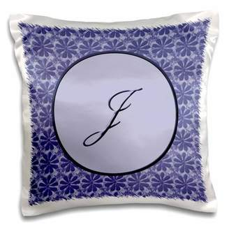 3dRose Elegant letter J in a round frame surrounded by a floral pattern all in lavender blue monotones - Pillow Case, 16 by 16-inch