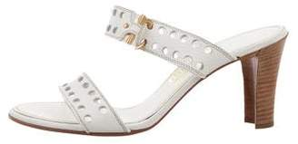 Salvatore Ferragamo Laser Cut Slide Sandals