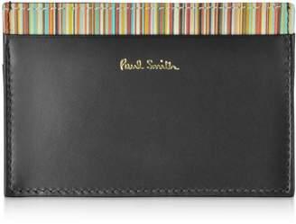 03ad973da0c3 Paul Smith Black Leather Men s Credit Card Holder W signature Stripe Trim
