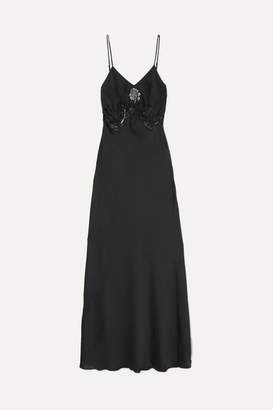 Paco Rabanne Lace-trimmed Satin Maxi Dress - Black