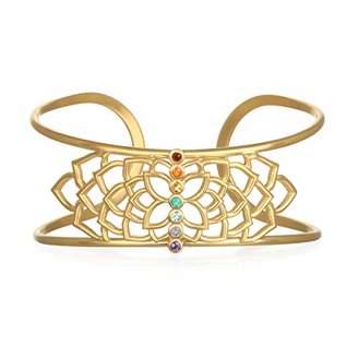 Satya Jewelry Women's Stone Gold Chakra Cuff Adjustable