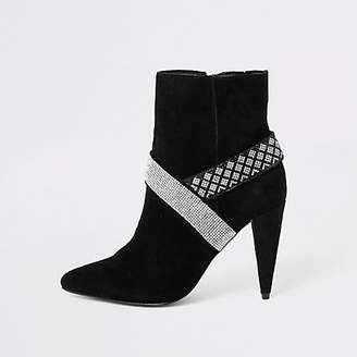 River Island Black suede diamante embellished boots