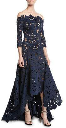 Oscar de la Renta Off-the-Shoulder 3/4-Sleeve High-Low Cutout Lace Satin Evening Gown