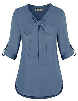 Moyabo Blouses for Women Plus Size Ladies Fashion 3/4 Cuffed Sleeve Chiffon Tunic Shirts Tops