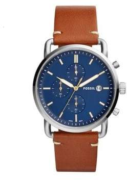 Fossil Chronograph The Commuter Light Brown Leather Strap Watch