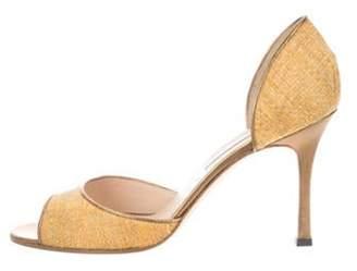 Manolo Blahnik Straw D'Orsay Sandals gold Straw D'Orsay Sandals
