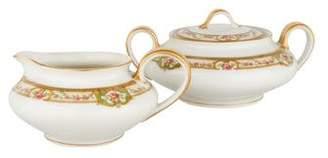 Haviland Limoges Porcelain Belfort Sugar Bowl & Creamer