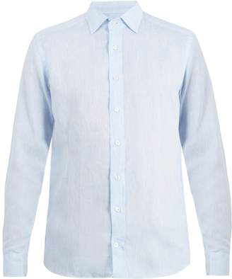 Etro Point-collar long-sleeved linen shirt