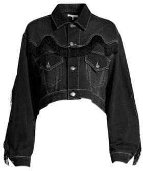 Ganni Fringe-Trim Washed Denim Jacket