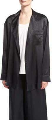 Robert Rodriguez Mid-Length Silk Satin Robe, Black