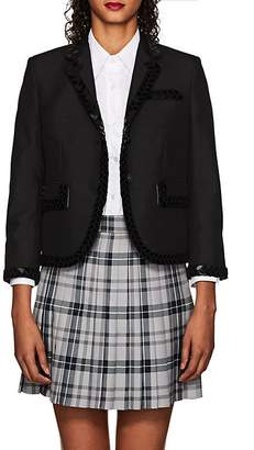 Thom Browne WOMEN'S CLASSIC EMBELLISHED WOOL-MOHAIR THREE-BUTTON BLAZER