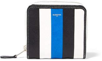 Balenciaga Bazar Striped Textured-leather Wallet - Blue