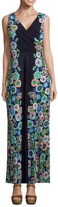 London Times Sleeveless Floral Maxi Dress-Petite