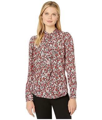 Lauren Ralph Lauren Ruffled Floral-Print Crepe Shirt