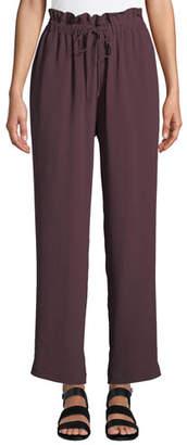 Eileen Fisher Straight-Leg Crepe Ankle Pants w/ Drawstring Waist, Plus Size