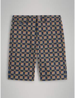 Burberry Childrens Tiled Archive Print Cotton Shorts