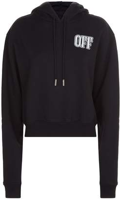 Off-White Off White Lips Motif Cropped Hoodie