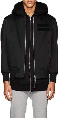 Neil Barrett MEN'S LAYERED TECH-SATIN BOMBER JACKET & NEOPRENE HOODED VEST