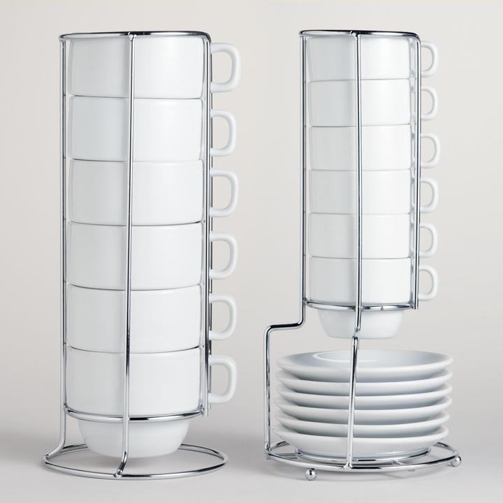 White Stacking Mugs or Espresso Cups, Sets of 6