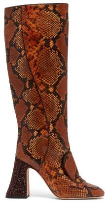 Rochas - Pascal Glitter Heel Faux Python Knee Boots - Womens - Brown Multi