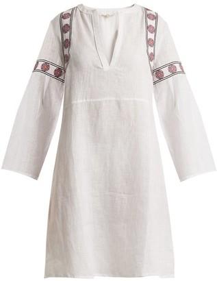 Daft - Pantelleria Embroidered Linen Kaftan - Womens - White