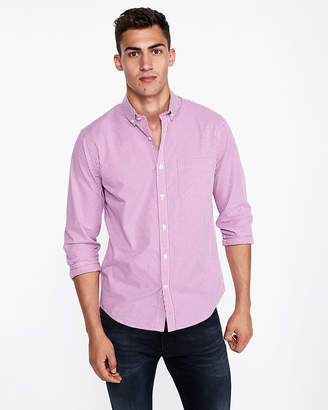 Express Slim Checked Soft Wash Shirt
