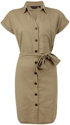Dorothy Perkins Womens Khaki Shirt Dress With Linen