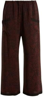 Raey Squiggle Print Silk Crepe Pyjama Trousers - Womens - Burgundy Print