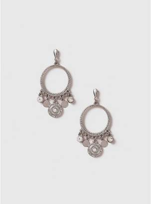 Evans Silver Charm Hoop Earrings