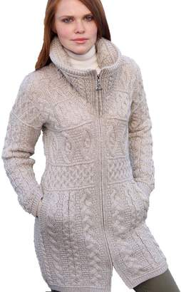 7e934a939d at Amazon Canada · 100% Merino Wool Aran Crafts Ladies Double Collar Coat  Parsnip