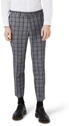 Men's Topman Skinny Fit Plaid Crop Suit Trousers $120 thestylecure.com
