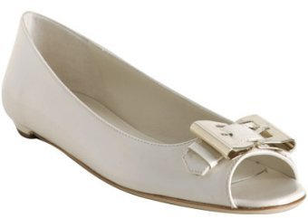 Gucci white patent 'Queen' peep toe flats