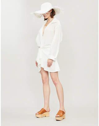 Jacquemus Ruffled cotton-blend mini shirt dress