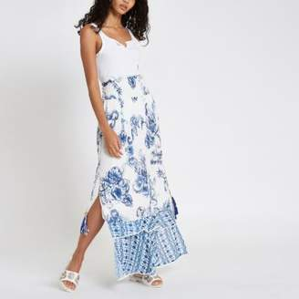 River Island Womens Blue floral sequin shirred maxi skirt