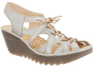 Fly London Leather Lace Up Wedge Sandals -Yapi