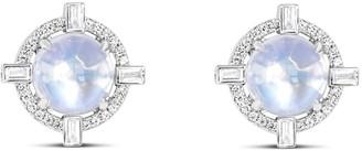 Ri Noor Round Starburst Moonstone & Diamond Stud Earrings